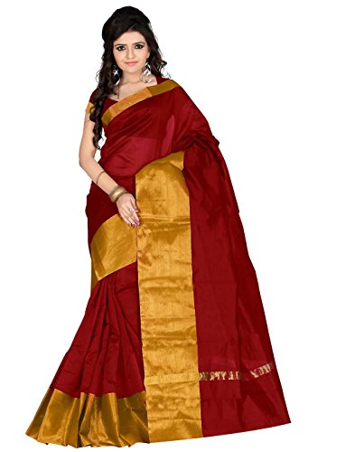 Roopkala Silks & Sarees Women's Poly Cotton Saree (SH-1313_Maroon)