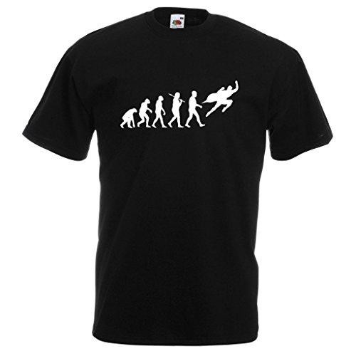 1StopShops Evolution Superheld Standard Schwarz T-Shirt mit Weißem Druck Gr. XX-Large, Schwarz