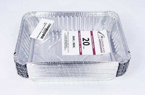 20 Aluschalen | R84L | 860 ml | 219 x 155 x 38 mm | ohne Deckel | Aluschale | Alu-Schale | ungeteilt | Menüschalen | Alu-Menüschale | Lunchbox | Asietten | Leberkäseform | Menüteller | Alubehälter | Aluminiumschalen | Tropfschale | Lasagneform | Backform | Auflaufform (20 Stück)