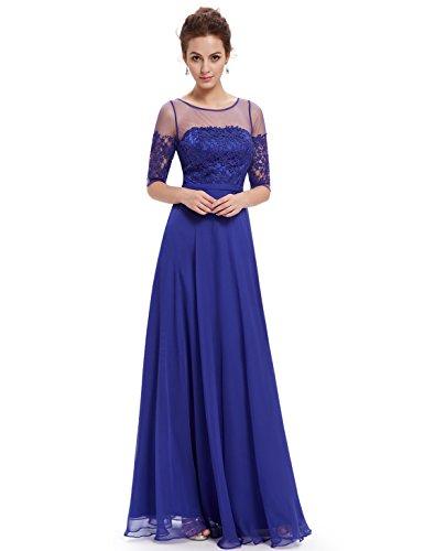 Ever Pretty Robe de soir¨¦e longue en demi-manches et le col en lace translucide 08459 Bleu Saphir