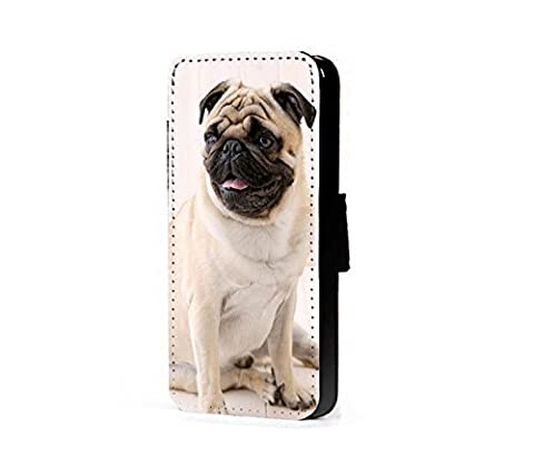 Pug dog faux leather wallet mobile phone case cover for iPhone, Samsung, Xperia, HTC (Samsung Galaxy S4 mini)