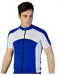 Deporteshera - Ropa ciclismo, Maillot Mangas Cortas, Camiseta Ciclismo, Color Azul/Blanco