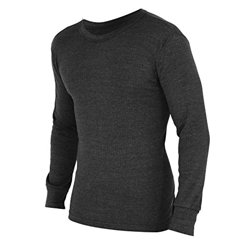 FLOSO® Herren Thermo-Unterhemd / T-Shirt, Langarm (Brustumfang: 102-107 cm (Large)) (Anthrazit)