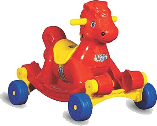 Panda Kid's Plastic Goyal's Musical Hobby Horse 2-in-1 Rocker cum Ride-on (Red)