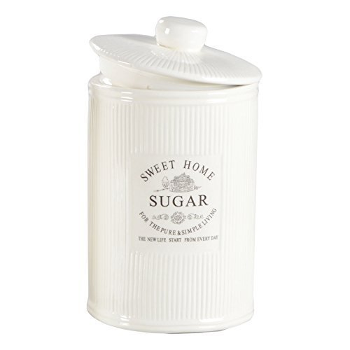 DRULINE Vorratsdose Kaffeedose Teedose Zuckerdose Shabby Creme Weiß Keramik SWEET HOME (Sugar)