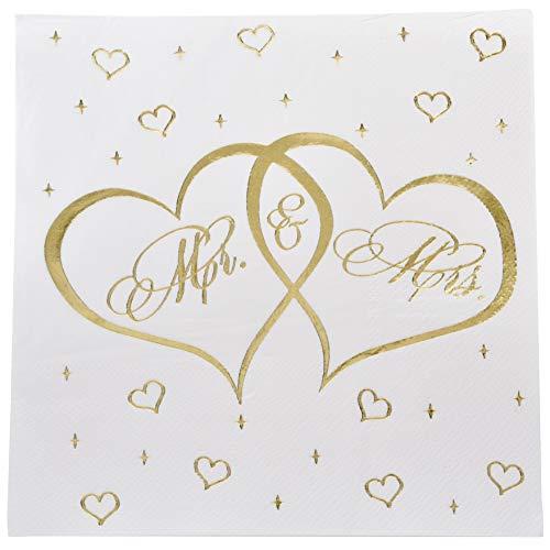 Mr. and Mrs. (100 Stück) Luncheon Servietten, Goldfolie, Einweg-Papier, Hochzeits-Serviette, Brautparty, Verlobung, Jahrestag, Party (Hochzeit Servietten Personalisierte)