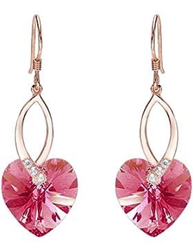 Clearine Damen 925 Sterling Silber CZ Elegant Herz von der See Dangle Ohrringe Kristall von Swarovski