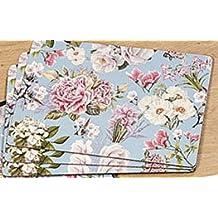 4 Tischsets Platzsets Aus Kork Mit Druck Rosen Blau Blumen Garden 40x29cm
