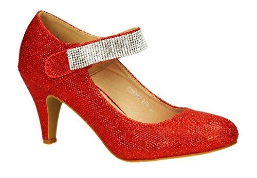 Klassische Glitzer Damen Mary Jane Riemchen Pumps Stilettos Abend High Heels Plateau Schuhe 353 (40, Rot)