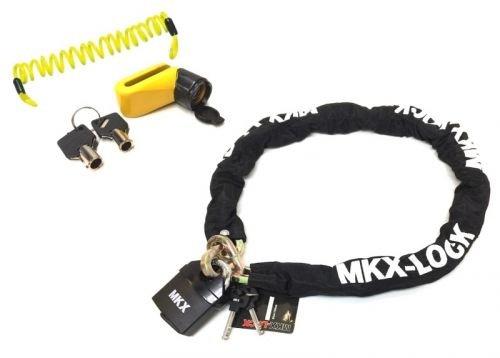 Set Kettenschloss 120cm + Bremsscheibenschloss + Kabel für Roller, Motorrad