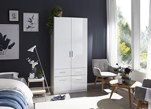 Rauch Möbel Kleiderschrank/Drehtürenschrank Salvador 2-türig Weiß Alpin mit 4 Schubladen, 1 Kleiderstange, 197 x54 x91 cm