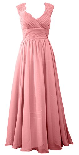 MACloth Women Vintage Long Bridesmaid Dress V Neck Lace Formal Evening Gown Blush Pink