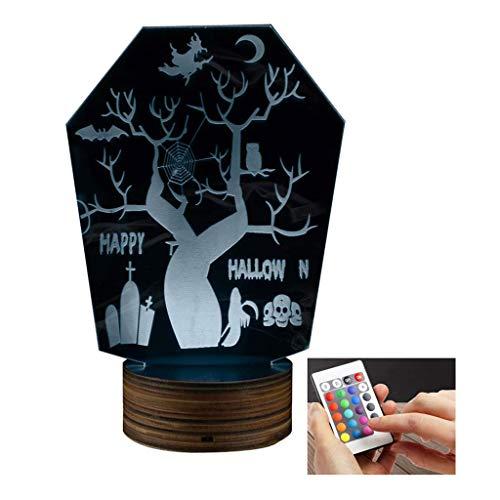 3D dekoratives Nachtlicht 3D LED Lampe Halloween Horror Nachtlicht optische Täuschung mit Fernbedienung 15 Farben Schlafzimmer mit USB-Ladegerät Wohnzimmer Cafe Geschenk Party und Dekor Weihnachten Ki (Halloween-dekor Waren Hause Zu)