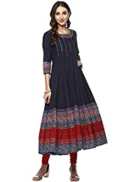Kurti Collection In Latest Kurti Beautiful Bollywood Kurti Embroidered Navy Blue Color Flared Anarkali With Detailing...
