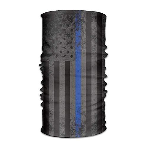 (American Thin Blue Line Flag Retro Quick Dry Microfiber Headwear Outdoor Magic Bandana As Neck Gaiter Head Wrap Headband Scarf Face Mask Ultra Soft Elastic One Size)