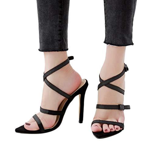 Deloito 2019 Sommer Damen Sexy Party Prom Römisch Sandalen Peep Toe Kreuzgurt Schnalle Riemchen High Heel Schuhe Sandaletten (Schwarz,39 EU) Sexy Schwarze Peep-toe-heels