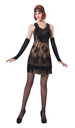 Chicago 1920 Kostüm - Bristol Novelty AC220 Flapper Kleid, Gold, Schwarz, UK 10-14