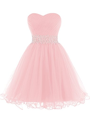 Dresstells, Mini/Court robe de cocktail Robe de demoiselle d'honneur emperlée bustier en cœur Rose