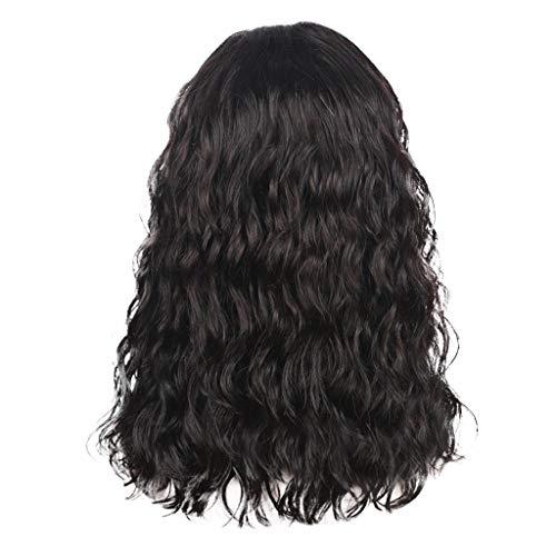 Schwarz Waselia, PerüCken Damen Kurze Curly Lace Front, Kurze Bob Curly Lace Front PerüCke Schwarze Menschenhaar Frauen NatüRliche WellenföRmige Lockige PerüCken ()