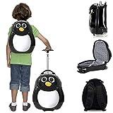 Kompakte 2-tlg Kindergepäck, Reisekoffer und Kinderrucksack, Für Urlaub Handgepäck & Rucksack - Kinder Trolley Schwarz Pinguin