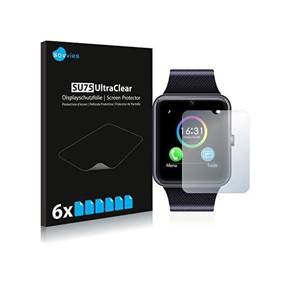 savvies Protector Pantalla Compatible con Yamay Bluetooth Smartwatch SW016 (6 Unidades) Pelicula Ultra Transparente 1
