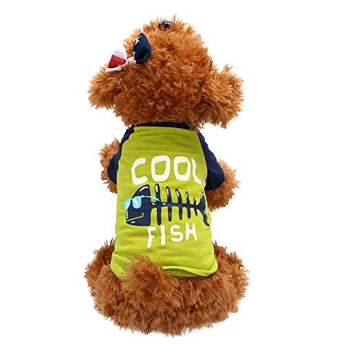 Hawkimin Haustier T-Shirt Klassiker Baumwolle cool Fish Mode Beiläufig Welpen Hemd Sportswear Mantel Kleider Hunde Kostüm ()