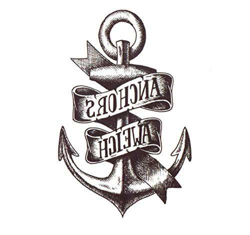 WENSHEN Anker Tätowierung Aufkleber Tatouage Temporaire Tatuajes Fake Kinder Tattoo Taty Gold Tattoo Xha Tatuajes Temporales 20X12Cm