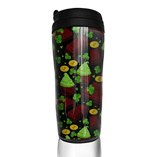 Travel Coffee Mug St Patrick S Day Clover Leaves Chocolate Bars Cupcakes Coins 12 Oz Spill Proof Flip Lid Water Bottle Environmental Protection Material ABS