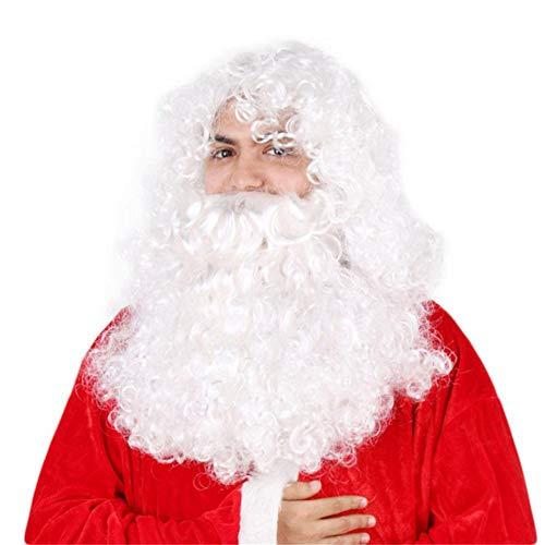 Weihnachten Perücke und Bart Set Deluxe White Weihnachtsmann Kostüm Cosplay - Deluxe Kostüm Bart Und Perücke Set