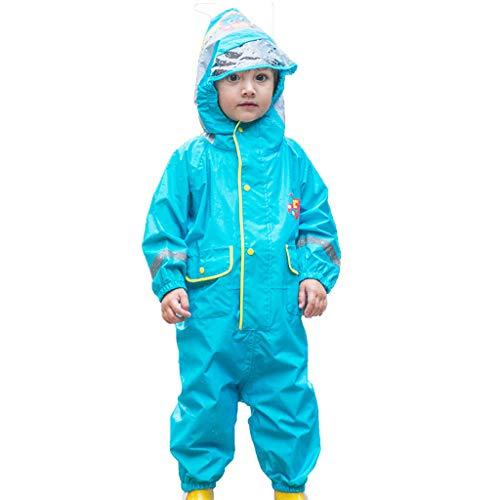 CKH Im Freien Spielraum-Kind-siamesischer Regenmantel-Art-Jungen-Mädchen-Baby-Baumschule-großer Hut-Breathable Regen keucht Poncho-Blau (Size : M)