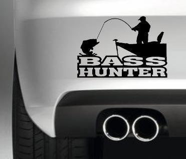 BASS HUNTER STICKER FISHING TACKLE BOX FISHING BAIT BOAT HOBBIES CAR BUMPER WINDOW PAINTWORK DECAL GRAPHIC VINYL (Bass-tackle)