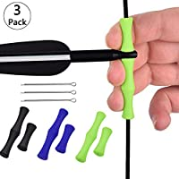Mein HERZ 3 Pcs Dedo de Silicona Cuerda de Arco Caucho Mediterráneo Dedo de Silicona Equipo de Protección de la Cuerda del Arco Accesorios de Arco y Flecha Apto para Principiantes(Negro, Azul, Verde)