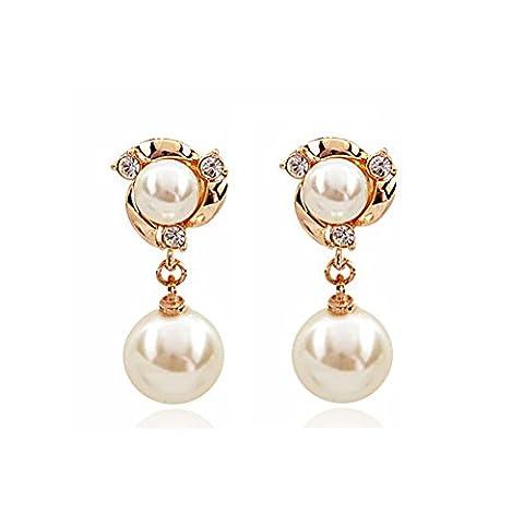Élégantes boucles d'oreilles perles/Boucles d'oreilles simple tempérament-A