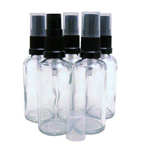 50 ml Verre Clair aromathérapie bouteilles avec atomiseur Noir Pulvérisations - Lot de 5