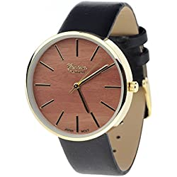 Unisex Geneva Stainless Steel Back Wood-Look Dial Black Faux Leather Strap Watch