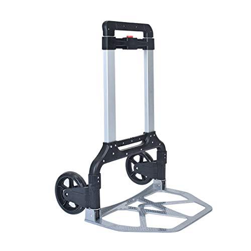 Tellerwagen Folding Trolley Auto Tragbare Trolley Aluminiumlegierung Push Auto Gewicht Anhänger Handling Einkaufswagen Beste Geschenklast 160 Kg (Color : Black, Size : 48.5 * 5 * 75cm)