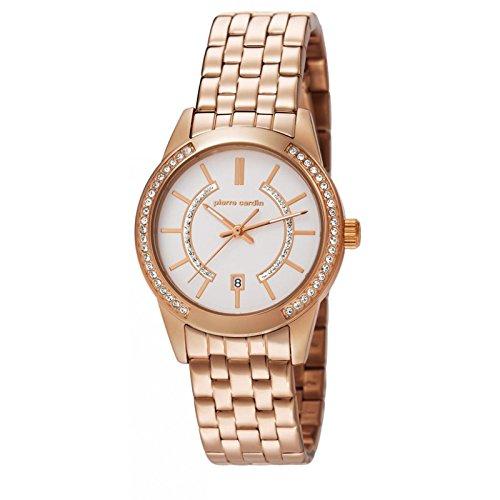 Montre mixte adulte Pierre Cardin Quartz- Affichage Date Standard bracelet Acier Inoxydable Or Rose et Cadran Blanc PC106582F08