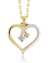 caa40107a444 Collar de mujer con corazón de oro amarillo 585 de 14 quilates y diamante  de 0