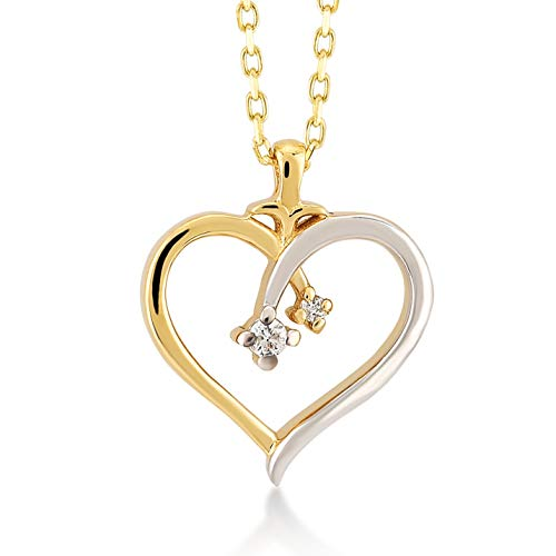 Damen Herzkette aus 14 Karat - 585 Echt Gelbgold Kette mit Herz und 0.02ct Diamant, Geschenk für Geburtstag Valentingstag - Kette 45 cm