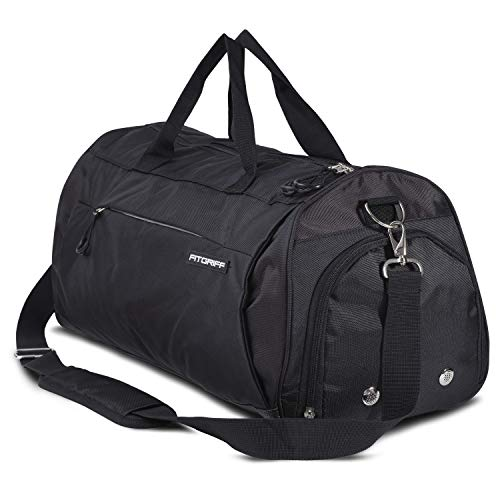 Fitgriff® Sporttasche Reisetasche mit Schuhfach & Nassfach - Männer & Frauen Fitnesstasche - Tasche für Sport, Fitness, Gym - Travel Bag & Duffel Bag 48cm x 26cm x 25cm [30 Liter] (Full Black, Small)