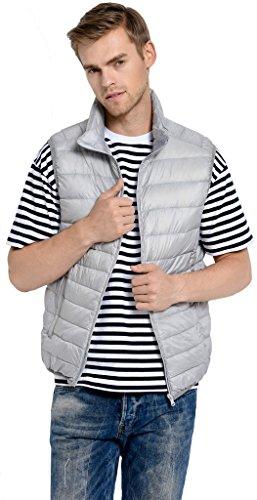 Sawadikaa Herren Übergröße Ultra Leicht Verpackbar Kissen Puffer Daunen Weste Winter Jacke Hell Grau