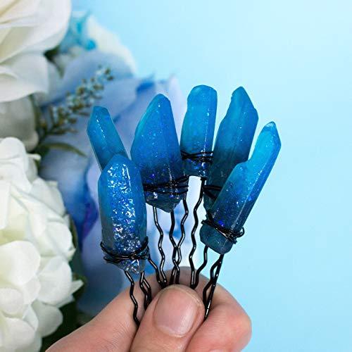Kostüm Braut Hexe - Firion Haarnadeln, 6 Haarklemmen mit schattierten blauen Harzkristallen, schwarzer Stift und Draht, perfektes Haar Juwel für Hochzeit, Kostüm, Braut, Hexe, originelles Geschenk zum Valentinstag