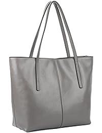 YALUXE Women's Large Capacity Leather Work Tote Zipper Closure Shoulder Bag