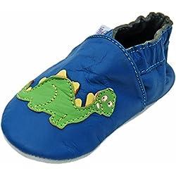 Lappa.de - Zapatillas de piel para niños (suela de goma, tallas de la 19 a la 31), diseño de dinosaurio, color azul oscuro y verde, color multicolor, talla 19/20