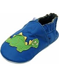 Lappa.de - Zapatillas de piel para niños (suela de ante, tallas de la 17 a la 29), diseño de dinosaurio, color azul y verde