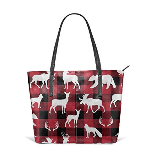 Woodland Animals On Buffalo Plaid Beach Tote Bag Travel Tote Bag Toy Tote Bag Shopping Tote Schultertasche für Damen und Mädchen -
