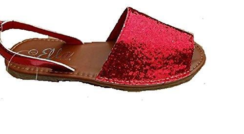 Ella , Mädchen Sandalen, rot - rot - Größe: 32 EU Kinder (Rote Glitter Sandal)
