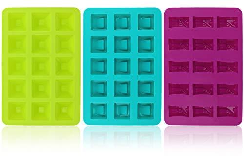 com-four® 3x Silikon-Form für Pralinen - Pralinenformen für je 15 Pralinen oder Eiswürfel - Schokoladenform [Farbe variiert] (03 Stück - eckig)