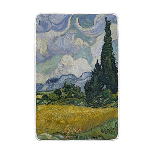 DOSHINE Zwillings-Decke, Weizenfeld, Zypressen Van Gogh weich, leicht, wärmend, 152,4 x 228,6 cm, für Sofa, Bett, Stuhl, Büro -