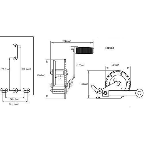 Seilwinde Seilzug 1200lbs 540kg 4,5mm x 9m - 3